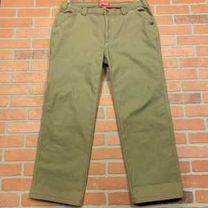 New Mens Coleman Flannel Lined Pants Brown Gray Beige Green Black Tan
